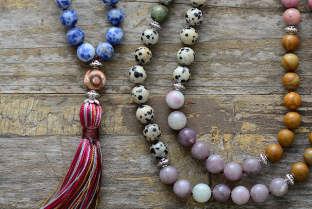 Beaded Agate & Jasper Long Mala Tassel Chakra 7 Stone Necklace - Egret Jewellery