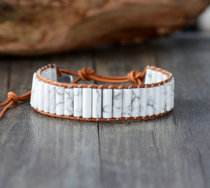 Natural Beaded Oblong White Howlite Leather Cuff Bracelet