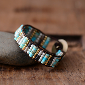 Leather Oblong Beaded Turquoise Jasper, Seed Beads Wrap | Cuff Bracelet