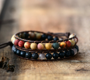 Natural Lava Rock, Onyx & Jasper Beaded Leather Wrap Bracelet