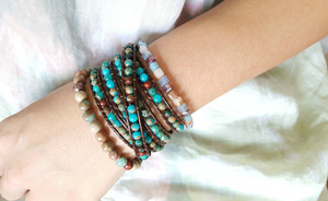 Natural Stone Imperial Jasper Beaded Leather Wrap Bracelet