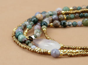 Beaded Jasper & Agate Layered Seed Beads & Natural Stone Gold Necklace