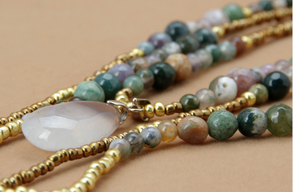 Beaded Jasper & Agate Layered Seed Beads & Natural Stone Gold Necklace - Egret Jewellery
