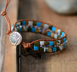 Turquoise & Howlite Beaded Leather Oblong Cuff Bracelet