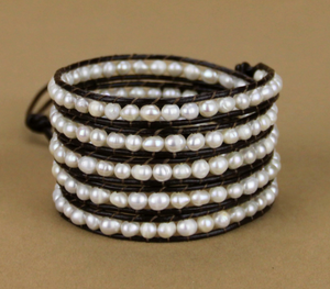 Natural Freshwater Cream Pearl Beaded Leather Wrap Bracelet