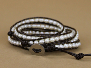 Natural Freshwater Cream Pearl Beaded Leather Wrap Bracelet - Egret Jewellery