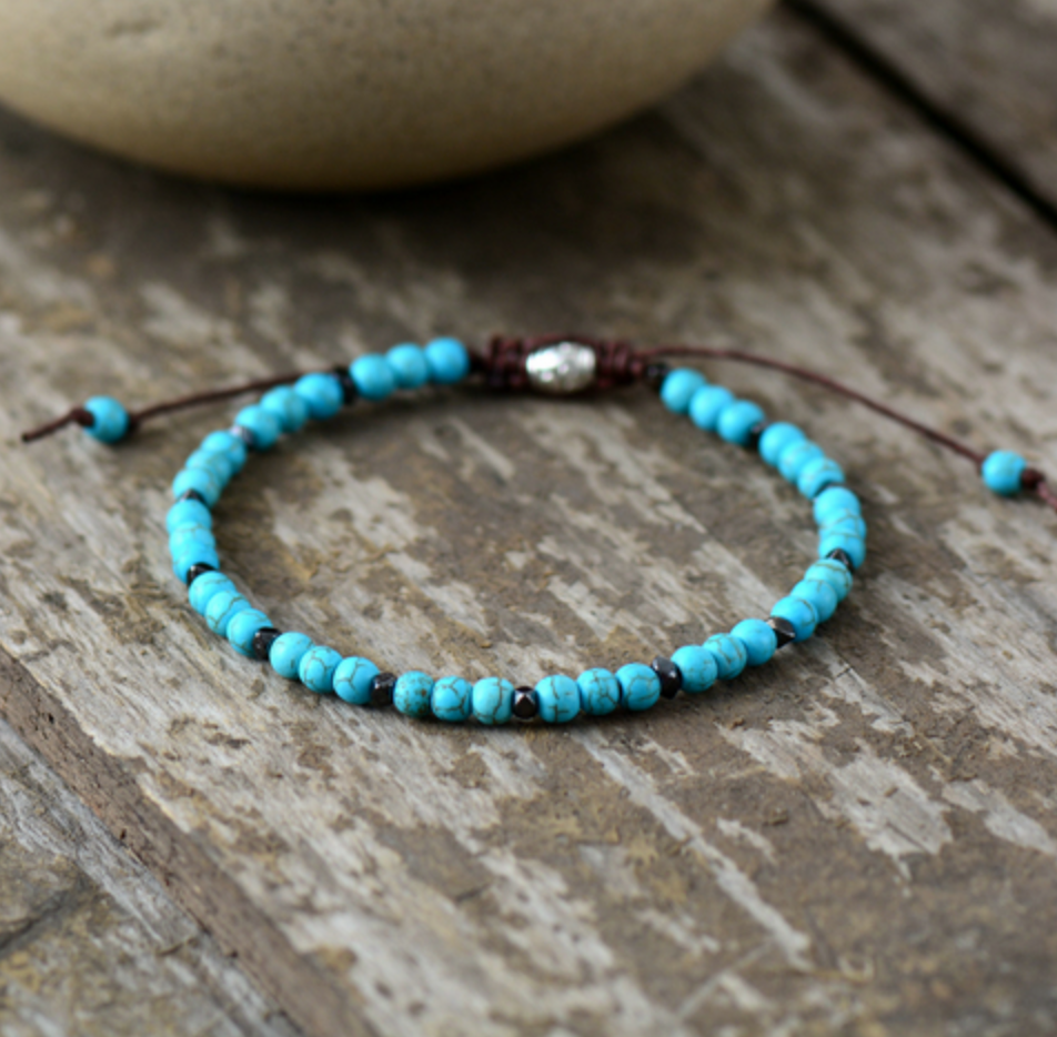Turquoise & Silver Seed Beads Stacking Beaded Friendship Bracelet - Egret Jewellery