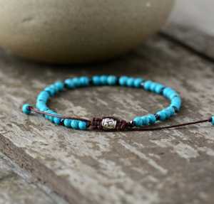 Turquoise & Silver Seed Beads Stacking Beaded Friendship Bracelet
