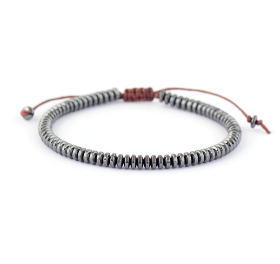 Men's Beaded Hematite  Disc's Silver Cord Stacking Bracelet - Egret Jewellery