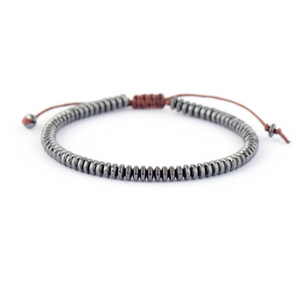 Men's Beaded Hematite  Disc's Silver Cord Stacking Bracelet