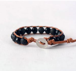Men's Leather Beaded Onyx & Lava Rock Stacking Bracelet