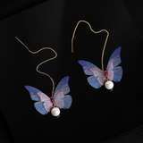 Chiffon Butterfly Gold Dangle Threader Earrings