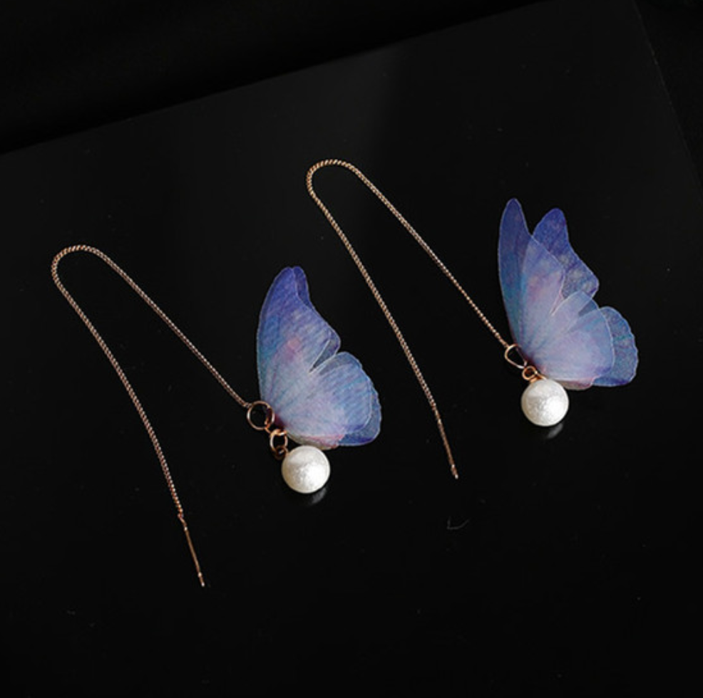 Chiffon Butterfly Gold Dangle Threader Earrings - Egret Jewellery
