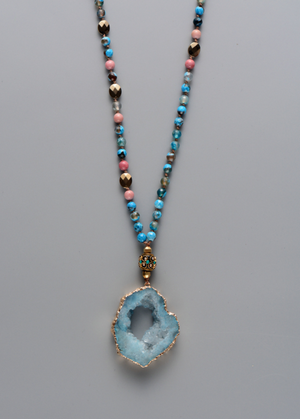 Tibetan Dzi Agate Beaded Mala Turquoise Geode Necklace