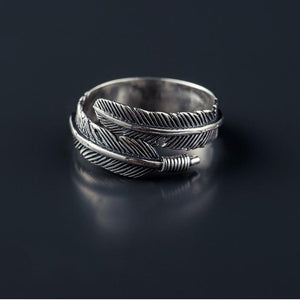 925 Sterling Silver Adjustable Feather Wrap Ring - Egret Jewellery
