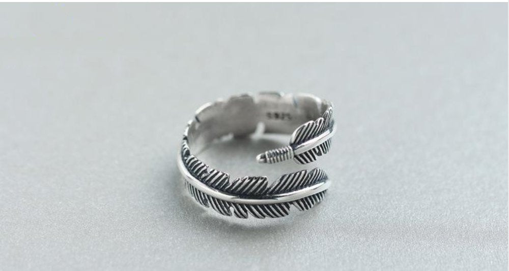 925 Sterling Silver Adjustable Feather Wrap Ring