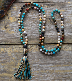 7 Stone Mala Imperial Jasper & Lava Rock Chakra Beaded Tassel Necklace - Egret Jewellery