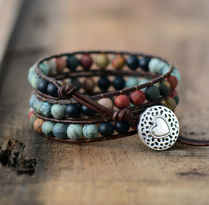 Natural Turquoise, Onyx & Jasper Stone Beaded Leather Wrap Bracelet