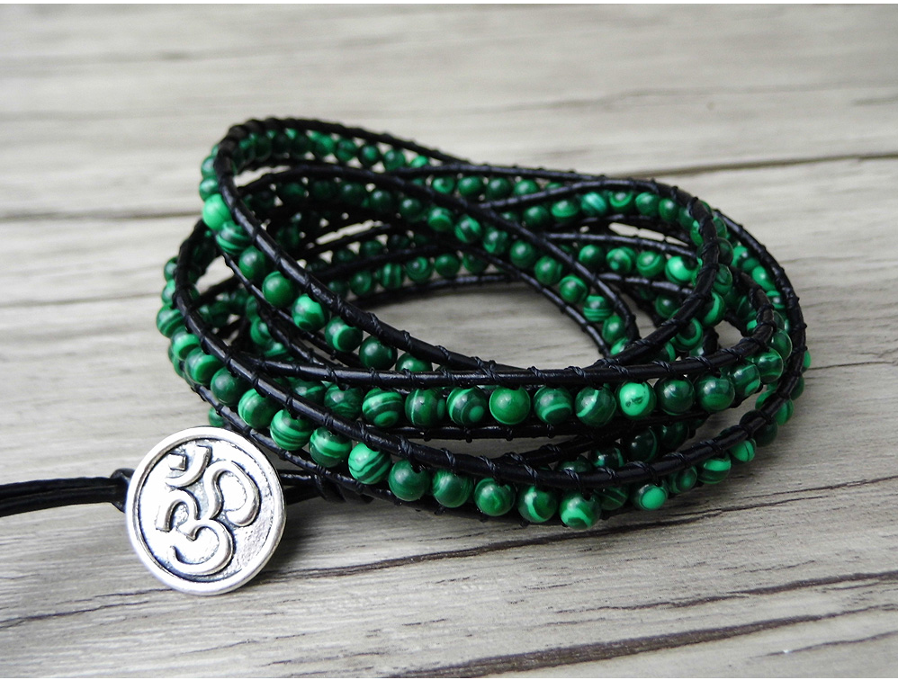 Green Malachite Beaded Wrap | Cuff Leather Bracelet