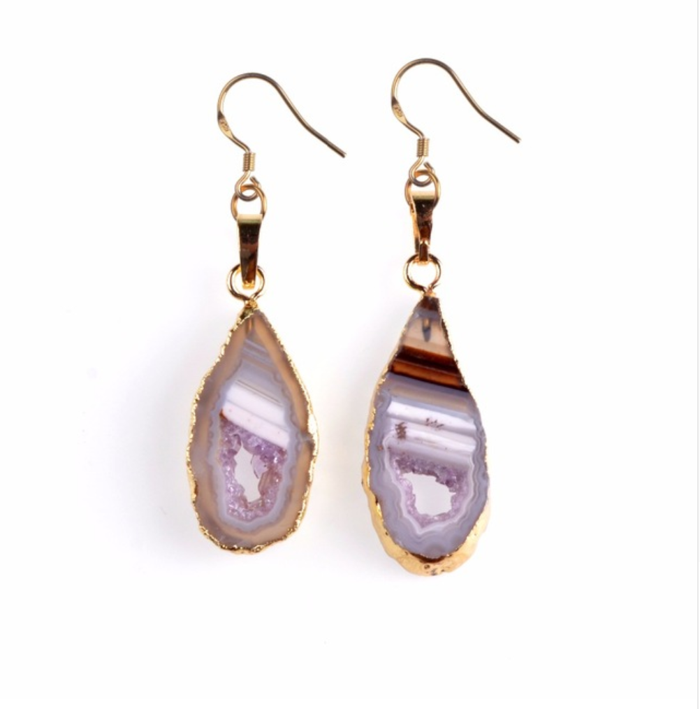 Gold-Dipped Pink Agate Geode slice Drop Earrings - Egret Jewellery