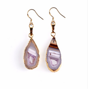 Gold-Dipped Pink Agate Geode slice Drop Earrings
