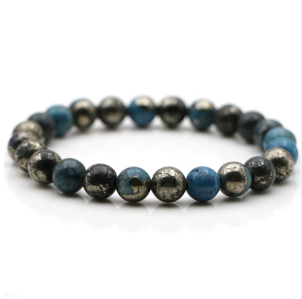 Natural Stone Blue Pyrite Beaded Cuff Stacking Bracelet Men's Women's
