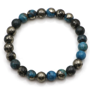 Natural Stone Blue Pyrite Beaded Cuff Stacking Bracelet Men's Women's - Egret Jewellery