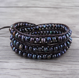 Freshwater Dark Purple Pearl Leather Beaded Wrap Bracelet