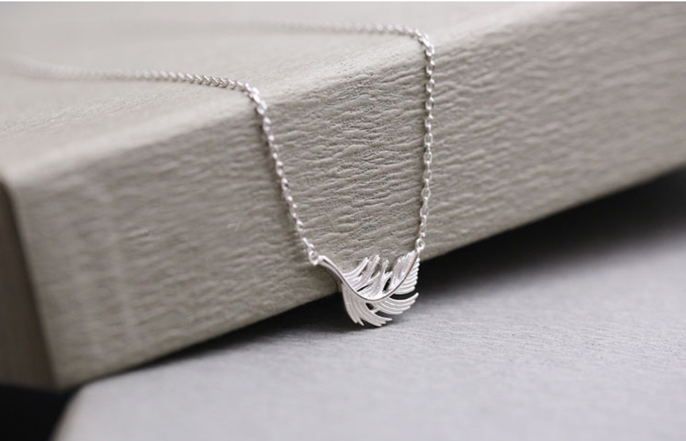 Sterling Silver Delicate Feather Leaf Necklace