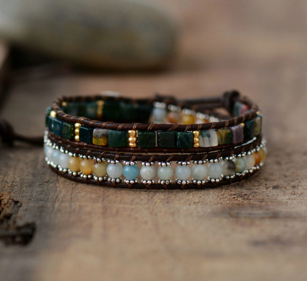 Natural Beaded Leather Green Aventurine Chakra Wrap Bracelet