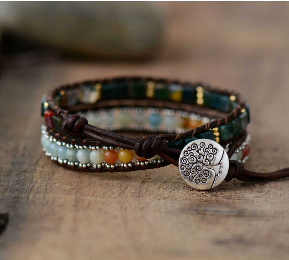Natural Beaded Leather Green Aventurine Chakra Wrap Bracelet - Egret Jewellery