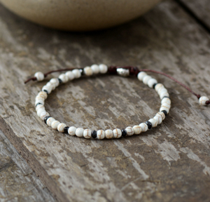 Howlite & Hematite Beaded Friendship Stacking Bracelet - Egret Jewellery
