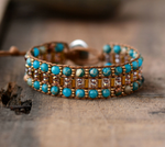 Leather Oblong Beaded Imperial Jasper & Seed Beads Wrap Cuff Bracelet