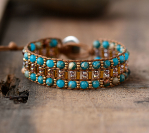 Leather Oblong Beaded Imperial Jasper & Seed Beads Cuff | Wrap Bracelet
