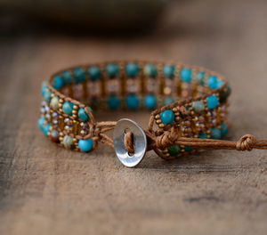 Leather Oblong Beaded Imperial Jasper & Seed Beads Cuff | Wrap Bracelet - Egret Jewellery