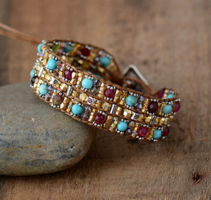 Beaded Wrap Cuff Bracelet Leather Oblong Turquoise Jasper Seed Beads - Egret Jewellery