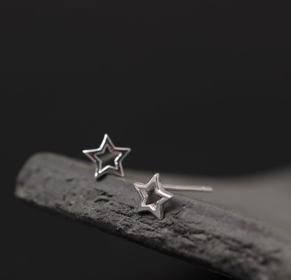 Brushed Sterling Silver Hallow Star Stud Earrings - Egret Jewellery