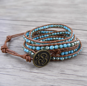 Natural Pale Blue Jade Beaded Leather Cuff | Wrap Bracelet