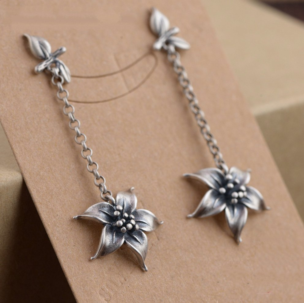 Long 925 Sterling Silver Open Lotus Flower Drop Earrings