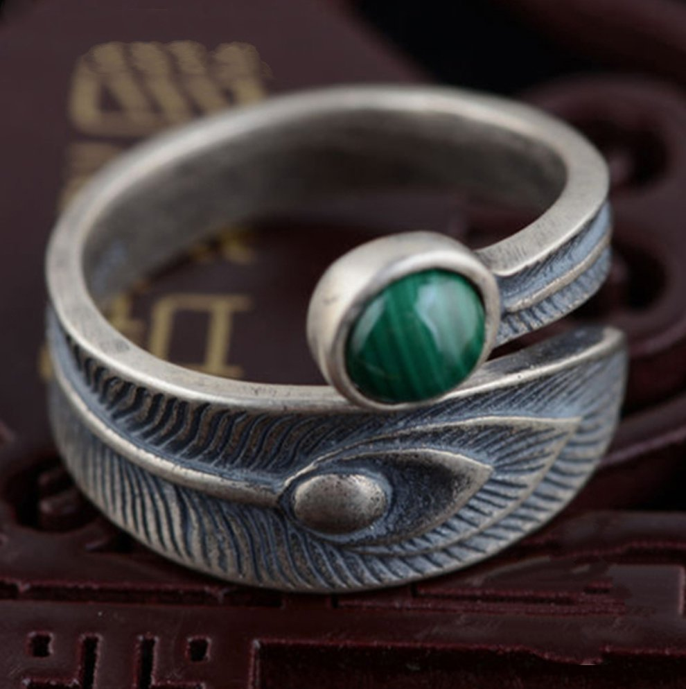 925 Sterling Silver Peacock Feather Ring Adjustable Leaf Malachite