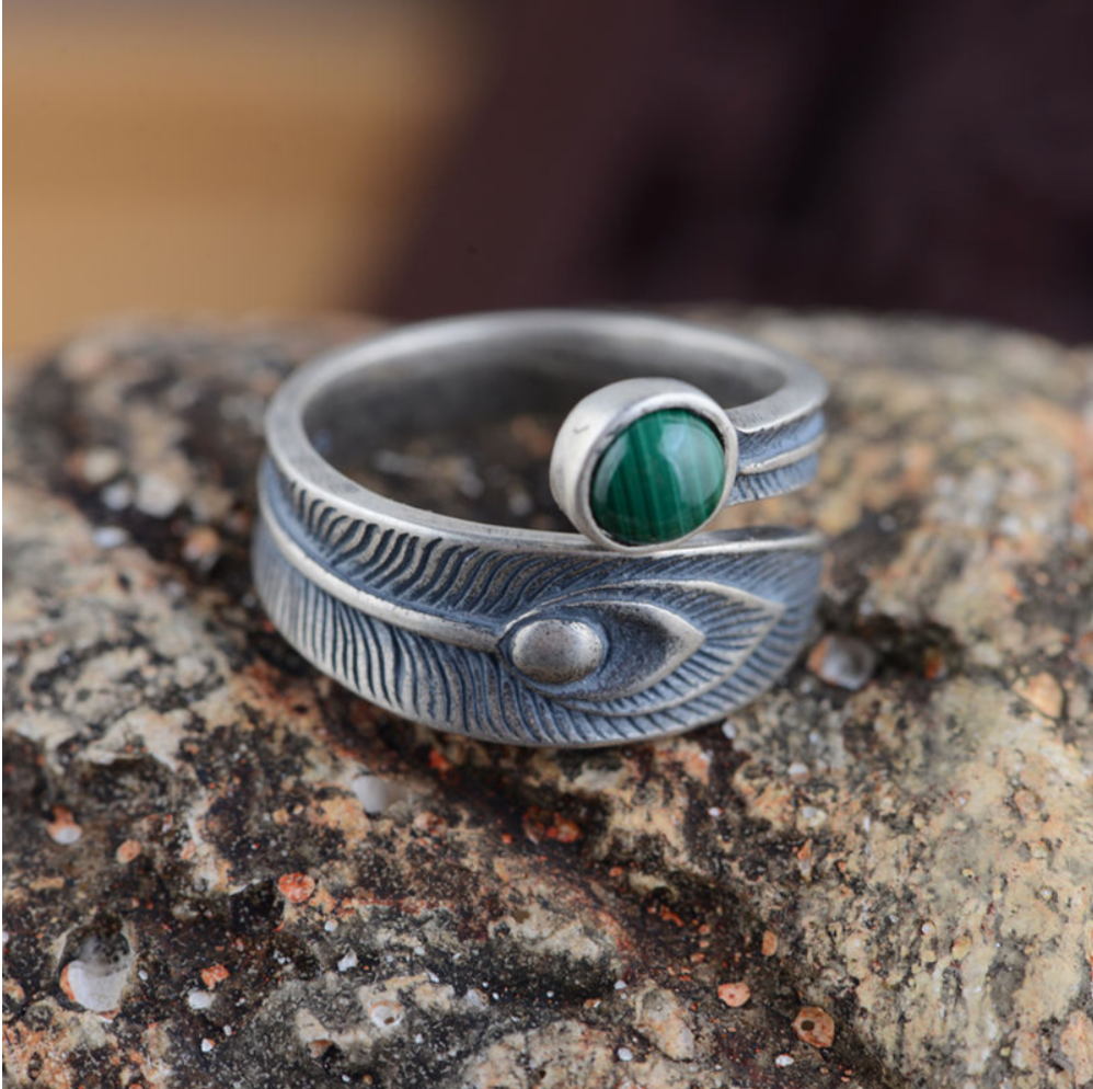 925 Sterling Silver Peacock Feather Ring Adjustable Leaf Malachite - Egret Jewellery