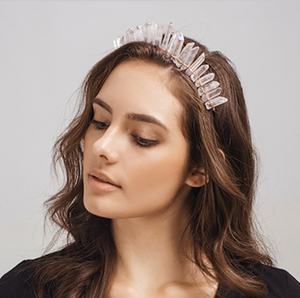 Rough White Quartz Crystal Mermaid Tiara Headband