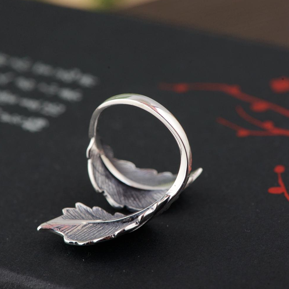 Sterling Silver Adjustable Leaf Wrap Statement Ring