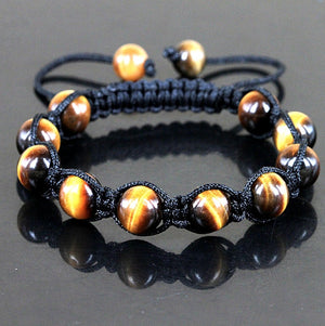 Tigers Eye Beaded Shamballa Bracelet