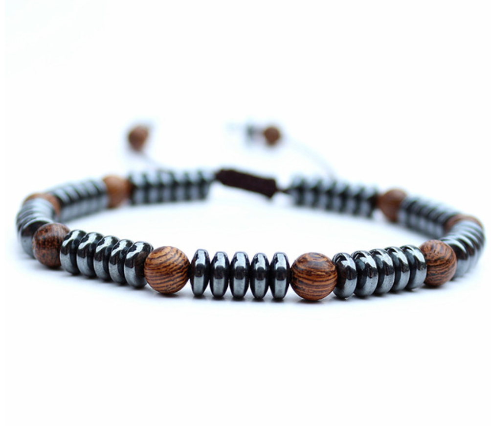 Men's Beaded Silver Hematite & Wooden Bracelet Disc