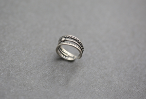925 Sterling Silver Layered Adjustable Ball Ring