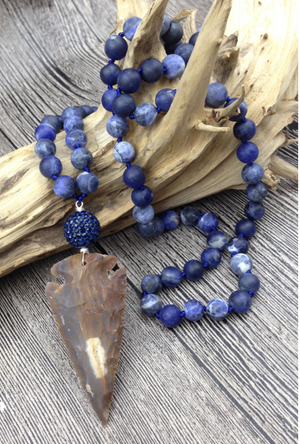 Natural Sodalite Beaded Gemstone Mala Necklace - Egret Jewellery
