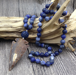 Beaded Gemstone Mala Beaded Sodalite Necklace