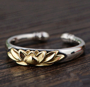 925 Sterling Silver Lotus Flower Gold Adjustable Stacking Ring