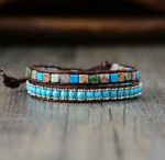 Leather Turquoise & Aventurine Beaded Blue Wrap Bracelet